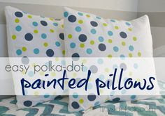 Polka-dot Painted Pillows {for the grandkid's room} A perfect way to add color and pattern to a room on a budget.  #howtopaintfabric #pillows #kidsroom