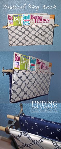 Finding Pins & Needles: Nautical hanging magazine rack for bathroom. Link to tutorial.