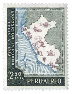 PERÚ, 1958 Exposición Peruana en París, en 1958. Mapa de Perú que muestra parte de la producción agrícola, mineral y energética, así como recursos forestales y productos del mar de ese país.
