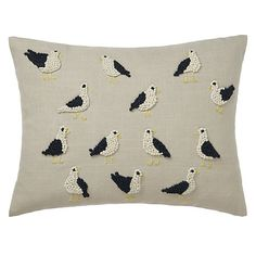 Buy John Lewis French Knot Seagulls Cushion from our Cushions range at John Lewis. Free Delivery on orders over Applique Cushions, Cute Cushions, French Knot Hairstyle, Cosy Kitchen, Cushions Online, House By The Sea, Art Textile, Textiles, Knot Pillow