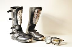 Original Vintage Alpinestars Motorcross Boots - Mad Max Boots - 5 Buckle Italian Boots -Roger De Coster-Hi Point  by thelittlebiker