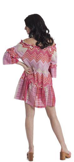Mini abito a balze, maglia rachel jacquard di cotone a disegno geometrico con giochi patchwork e inserti in lurex