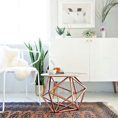 Make a side table pop with copper piping in a geometric pattern. Get the tutorial at The Home Depot Blog.