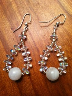 Moonstone and Crystal Earrings by TripIntoLight on Etsy, $10.00