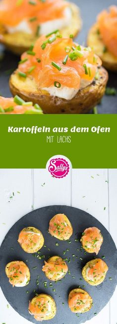 Kartoffelhälften aus dem Ofen, gefüllt mit Schmandcreme und belegt mit Lachs – leckeres Fingerfood.