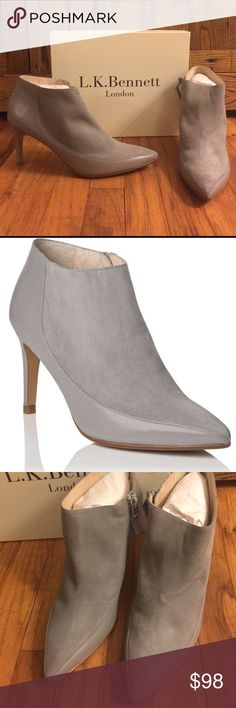 NEW LK Bennett Amanda booties in gray!! Gorgeous gray booties in suede and smooth leather! New from Lk Bennett. Size 36 and 42 (but fits an 11). 3.5 inch heel LK Bennett Shoes Ankle Boots & Booties