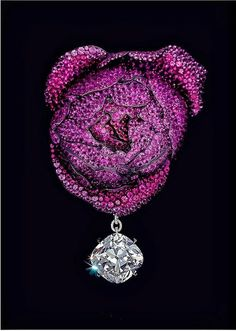 Rose Brooch by JAR, ruby, sapphire, spinel, diamond, silver, gold, 2013