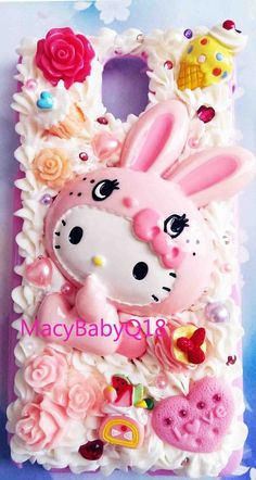 hello kitty bunny costume decoden whipped bouncy cream case 4 ALL Samsung models