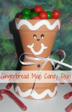 Looking for a cute and easy craft? Try this Gingerbread Man Candy Dish. Make it with the kids or put it together yourself to hold sweet holiday treats. Merry Christmas, Christmas Clay, Homemade Christmas, Diy Christmas Gifts, Holiday Crafts, Christmas Time, Christmas Goodies, Christmas Decor, Xmas