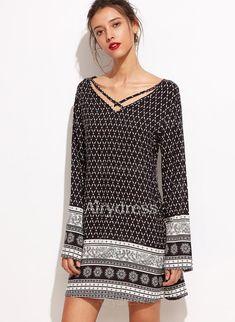 Dress - $19.85 - Cotton Blends Stripe Long Sleeve Above Knee Casual Dresses (1955128734)