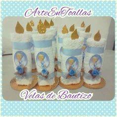 recuerdos souvenirs velas de bautizo en toallas