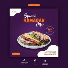 Special ramadan food banner template | Premium Psd #Freepik #psd #banner #food #menu #template Food Graphic Design, Food Design, Ramadan Recipes, Ramadan Food, International Sushi Day, Bio Food, Banner Template, Menu Template, Food Promotion