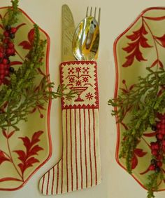 Redwork Scandinavian Stocking Ornament or by CherieWheeler on Etsy, $15.00