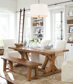 Warm woods and neutral colors dining room