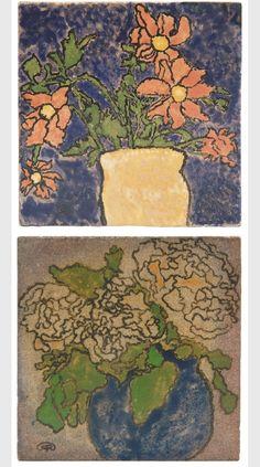Zsolnay floral picture tiles,1898 | artist design: József Rippl-Rónai