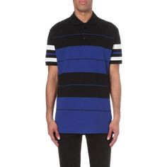 GIVENCHY Stripe print cotton-piqué polo shirt ($420) ❤ liked on Polyvore featuring men's fashion, men's clothing, men's shirts, men's polos, moroccan blue, mens blue polo shirts, mens striped shirt, givenchy mens shirt, mens long sleeve shirts and mens long sleeve polo shirts