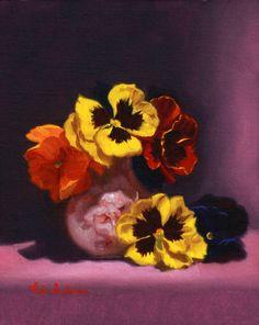 https://flic.kr/p/Ag3fmq | Pansy surprise by Vicki Sullivan#oilonBelgianlinen#Stilllife#Pansy#Flowers#Floralstudy#posie#pansies#Heartsease#originaloilpainting#Australianartist