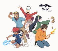 Katara, Sokka, Aang, Toph, and Zuko - Avatar - Kids Next Door Avatar Aang, Avatar Airbender, Team Avatar, Avatar The Last Airbender Funny, Zuko And Katara, Arte Nerd, Avatar Series, Fandoms, Futurama
