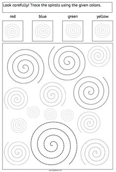 spirals tracing dyslexia dyscalculia parents children fine motory skills worksheet More on math and learning in general under central learning Visual Motor Activities, Visual Perceptual Activities, Dyslexia Activities, Learning Disabilities, Preschool Activities, Tracing Worksheets, Preschool Worksheets, Pre Writing, Writing Skills