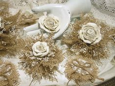 Set of 12 Handmade Burlap Paper and Lace Flowers for от PapernLace, $25.00