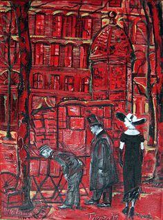 Adios Señora, oleo y acrílicos sobre lienzo. Estudio de Paris en 1930.