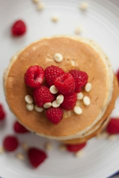 This is one of the most popular pancakes in our menu. On the top, raspberry and white milk chocolate chips are put. As the pancake is normal taste, you can put any sources on this pancake; honey, chocolate source, caramel source and so on.