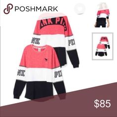 VS PINK COLORBLOCK CREW I absolutely LOVEEEE this one😍  It would take a lot to let it go   No flaws🌸  Size; xs but super oversized💕  Check out the rest of my closet for more vs pink💥 PINK Victoria's Secret Sweaters Crew & Scoop Necks