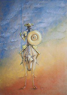 Don Quichotte or Don Quixote again . Soft pastels on kraft paper Don Qui ? Sculpture Clay, Sculptures, Man Of La Mancha, Dom Quixote, Salvador Dali Art, Tattoo Arm Designs, Don Miguel, Realistic Eye Drawing, Legends And Myths