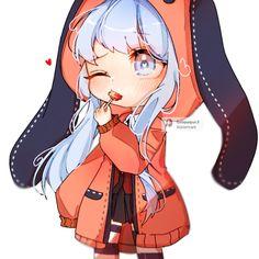 Chibi Girl Drawings, Kawaii Drawings, Cute Drawings, Cute Anime Chibi, Anime Neko, Kawaii Anime Girl, Anime Girl Dress, Anime Wolf Girl, Vestidos Anime