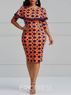 Ericdress Bodycon Geometric Print Women's Dress – African Fashion Dresses - African Styles for Ladies Ankara Dress Styles, African Fashion Ankara, Latest African Fashion Dresses, African Dresses For Women, African Print Dresses, African Print Fashion, African Attire, Women's Fashion Dresses, Women's Dresses