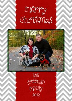 Customized Photo Christmas Card - Chevron Christmas Card with Photo - Chevron Pattern - 5x7 - Digital File for e-mail or print by andyneal331 on Etsy