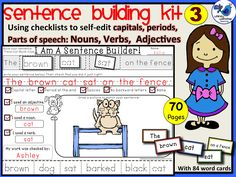 Set 3 - This time students are choosing from two sets of adjectives, nouns and verbs to build a unique sentence.  Their picture must match their sentence to demonstrated comprehension, and they continue to self-edit and peer edit their work. *UPDATE* Now comes with 84 color-coded word cards to build sentences! $ Free pages available. Whimsy Workshop Teaching