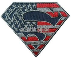 Superman S Shield American Flag Pattern Velcro Embroidered Patch [Silver/Red/Blue] - By Patch Squad