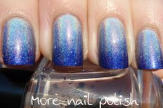 More Nail Polish: Blue holographic gradient