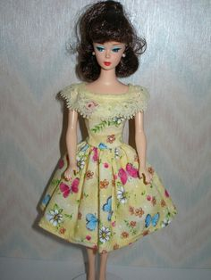 Handmade Barbie clothes  yellow floral and by TheDesigningRose, $6.00