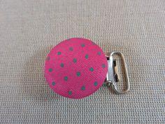 Attache tétine, Pince clip, rond rose, pince-clips à doudou, attache forme ronde, pince attache tétine, attache tétine rose, tissu rose pois de la boutique ArtKen6L sur Etsy