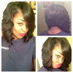 African American Hairstyles ~ Three and a half packs: 10 & 8 inches. Full to the max! Loose Hairstyles, Pretty Hairstyles, Black Hairstyles, Ponytail Hairstyles, Love Hair, Gorgeous Hair, Short Hair Styles, Natural Hair Styles, Bob Styles