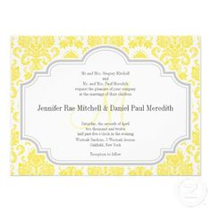 Monogram M Yellow  Damask Wedding Invitations