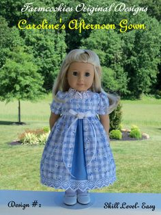 "Printed Pattern for American Girl: Caroline's Afternoon Gown / Sewing Pattern for 18"" Dolls"
