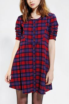 Cooperative Plaid Bibbed Babydoll Dress - Just the right weight for fall. #urbanoutfitters #prettytough