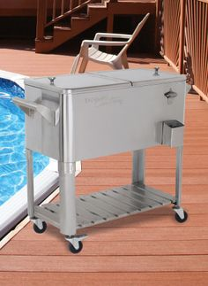 Rolling Stainless Steel Patio Cooler   Why Get Up When Your Drinks Can Roll  With You