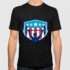 Weightlifter Lifting Barbell Rear Flag Shield Retro T-shirt. Illustration of a weightlifter lifting barbell looking to the side viewed from rear set inside shield crest with USA flag stars and stripes in the background done in retro style.#illustration #WeightlifterLiftingBarbell