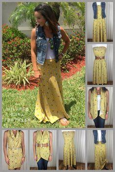 LuLaRoe Maxi skirt can be worn multiple ways. I'm in love! #lularoe #lularoemaxiskirt