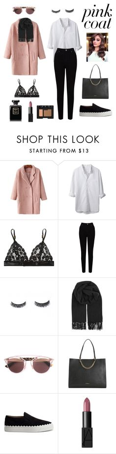 """""""pink coat"""" by namelessele ❤ liked on Polyvore featuring LE3NO, STELLA McCARTNEY, EAST, BeckSöndergaard, Christian Dior, Furla, Chloé, NARS Cosmetics and THEPINKCOAT"""
