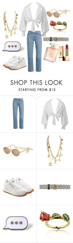 """""""vintage"""" by comerttaylan ❤ liked on Polyvore featuring Brock Collection, Montana, Chanel, Reebok, Gucci, PINTRILL, Disney, Yves Saint Laurent and vintage"""