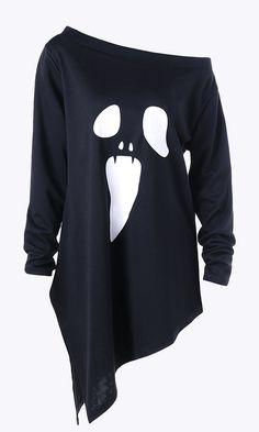 Halloween Plus Size Skew Neck Asymmetric Graphic Sweatshirt