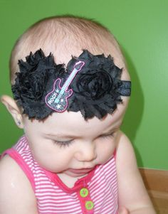 Black Rosette Punk Baby Rock Guitar Patch Headband by LayneCouture, $8.99
