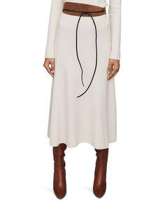 Maje Women's Jessy Ribbed Midi Skirt - Natural - Size 3 (L) Maje Clothing, World Of Fashion, Luxury Branding, Casual, Midi Skirt, Cold Shoulder Dress, Womens Fashion, Skirts, Sweaters