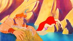 Ariel is the daughter of Triton, son of Poseidon, brother of Zeus, who is the father of Hercules. So Ariel and Hercules are cousins. MIND BLOWN