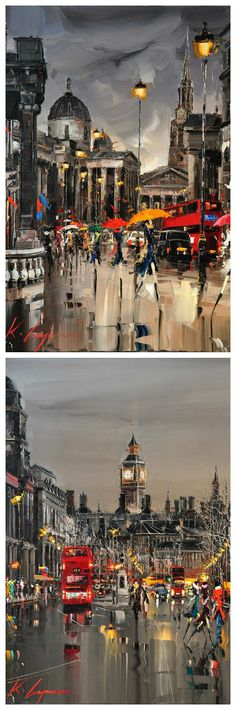 these skies and the echoing light are just superb. Cityscapes Paintings by Kal Gajoum City Painting, London Painting, Art Sculpture, Art Abstrait, London Art, Urban Landscape, Beautiful Paintings, Urban Art, Love Art
